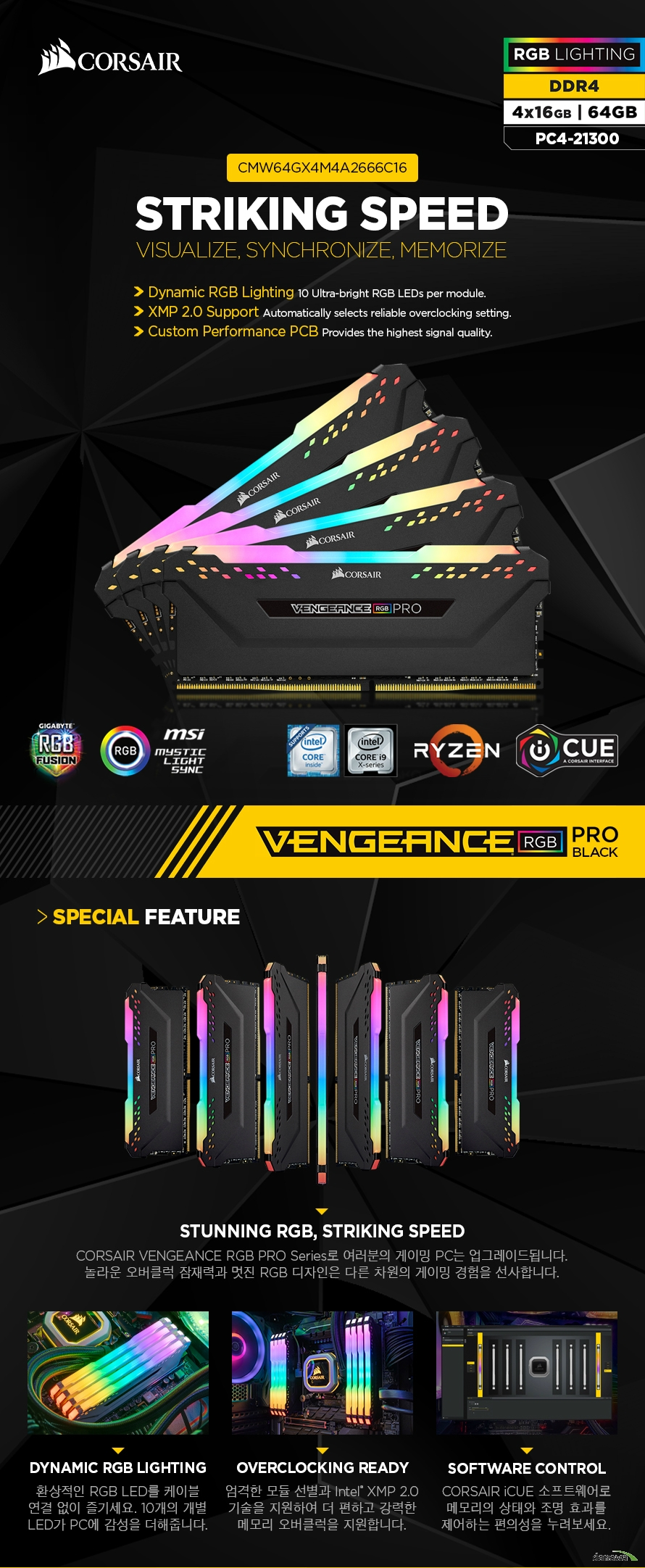 CORSAIR  DDR4 64G PC4-21300 CL16 VENGEANCE PRO RGB BLACK (16Gx4)