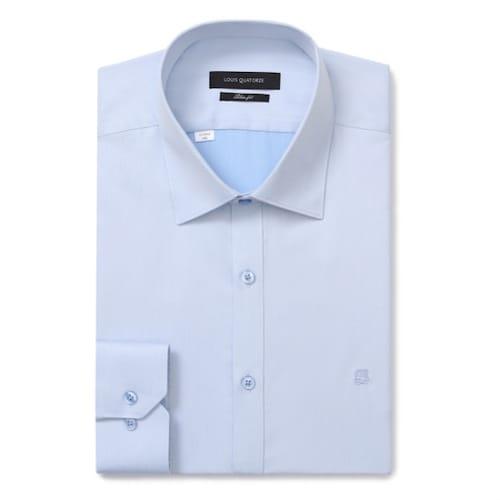 루이까또즈  블루 솔리드 슬리핏 긴소매 셔츠 Q7C802_이미지