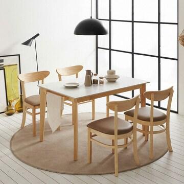 보니애가구 라일라 통세라믹 원목 프레임 식탁세트 (의자4개)_이미지
