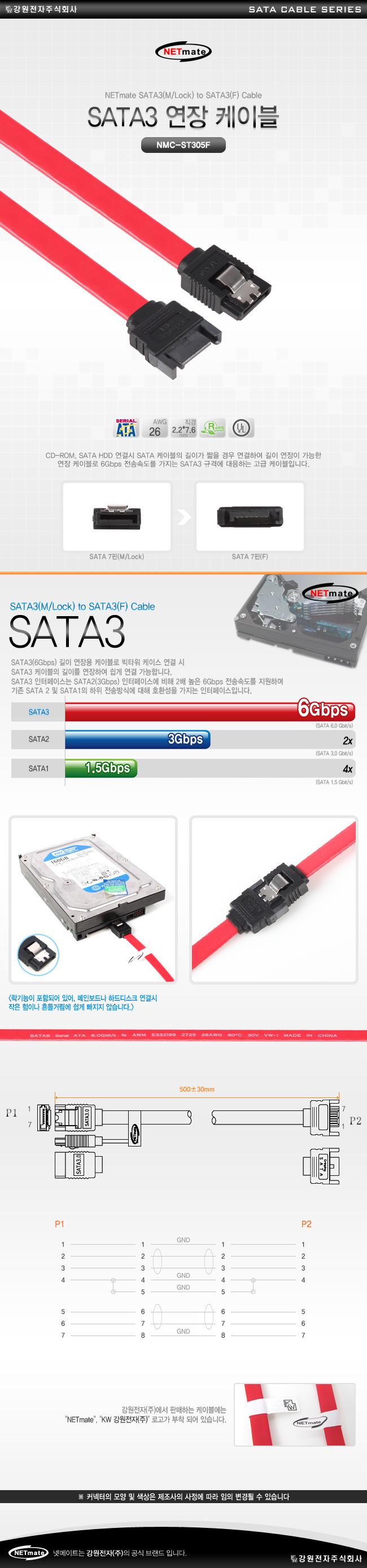 강원전자 NETmate SATA3(Lock) 연장 케이블(0.5m, NMC-ST305F)