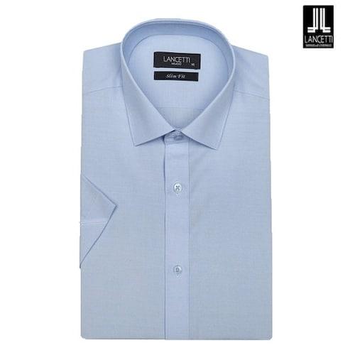 란체티  블루 모달 솔리드 슬림핏 반소매 셔츠 LPMR102BL_이미지