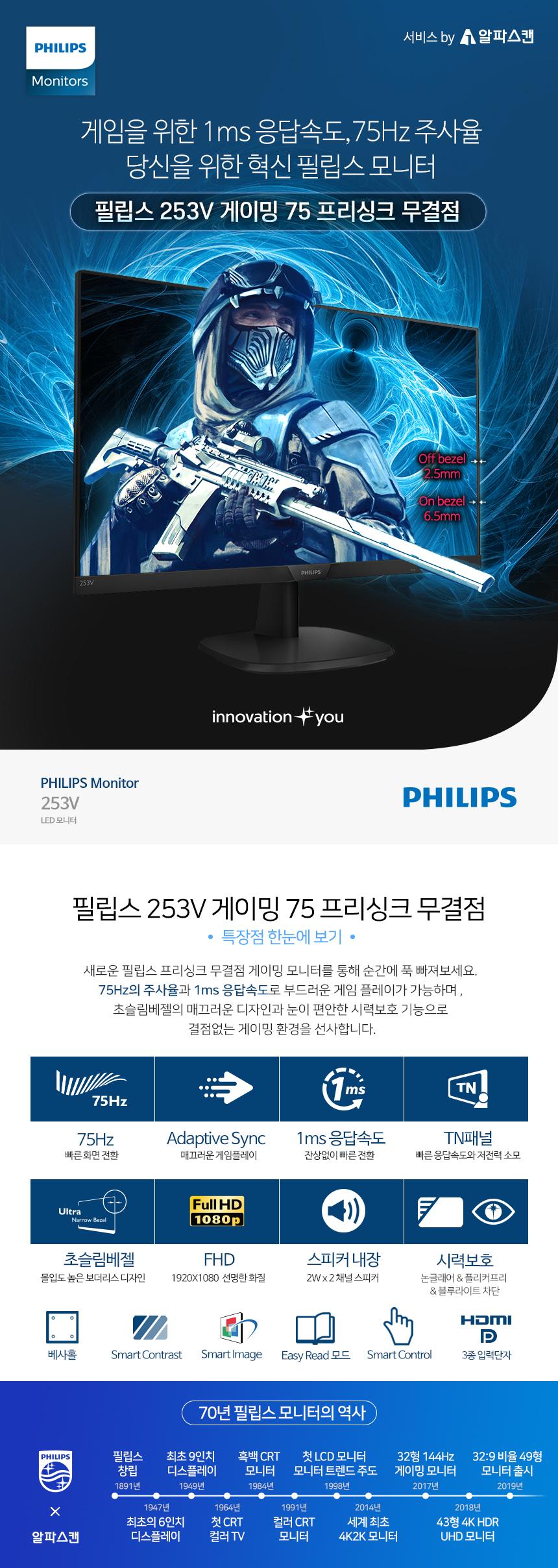 필립스 253V 게이밍 75 프리싱크 무결점