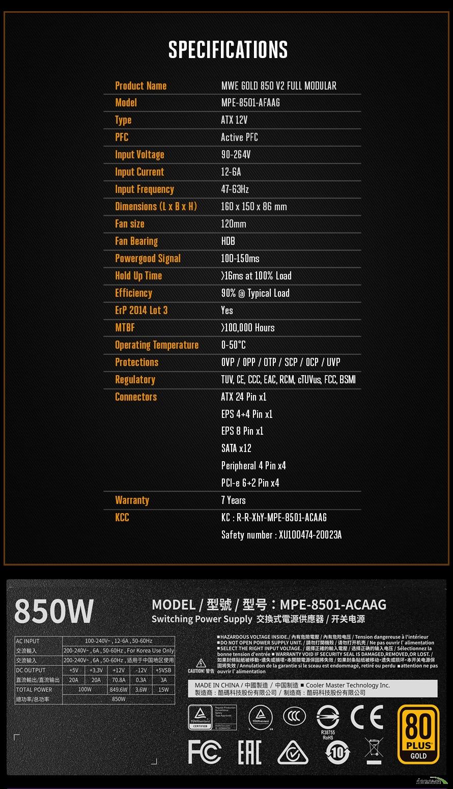 쿨러마스터 MWE GOLD 850 V2 FULL MODULAR