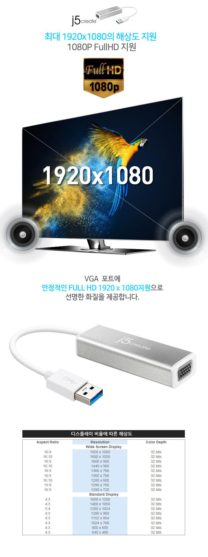 j5create USB3.0 to VGA 디스플레이 어댑터 (JUA315)