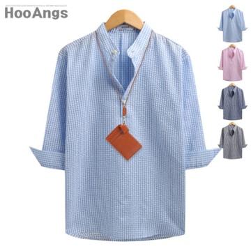 후앙스 7부 시어서커 헨리넥 셔츠
