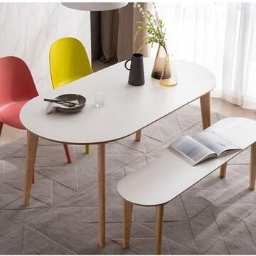 웨스트프롬 모던 에스메랄다 원목 타원형 식탁세트 1400 (의자2개+벤치1개)_이미지
