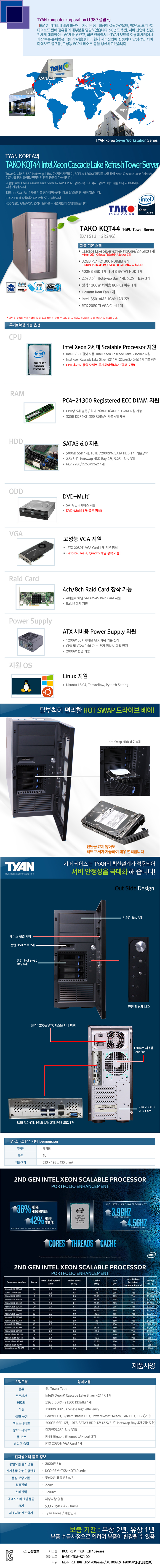 TYAN TAKO-KQT44-(B71S12-12R24G)-1GPU (128GB, SSD 500GB + 10TB)