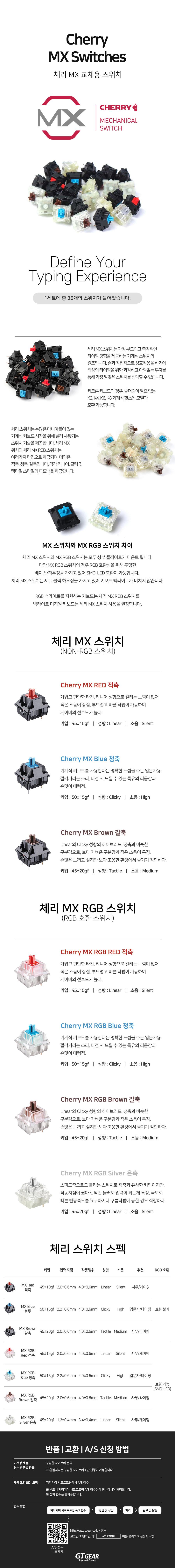 Keychron 교체용 Cherry MX RGB Switch Set (갈축)