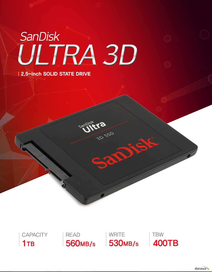 SanDisk Ultra 3d    2.5inch solid state drive        CAPACITY 1TB    READ 560mb/s    WRITE 530mb/s    MBW 400TB