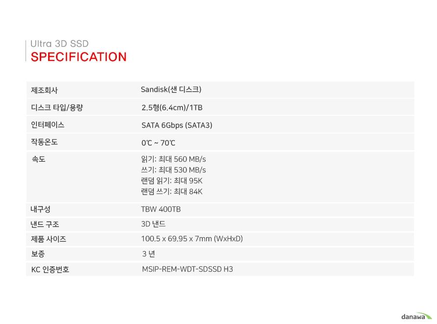 Specification        제조회사  SANDISK(샌 디스크)    디스크 타입/용량  2.5형(6.4cm/1TB)    인터페이스   SATA 6Gbps(SATA3)    MTTF  150만 시간    작동온도 0~70도    속도 읽기:최대 560MB/s     쓰기:최대 530MB/s         랜덤읽기:최대 95K         랜덤쓰기:최대 84K    내구성  TBW 400TB    낸드 구조  3D 낸드                        제품사이즈  100.5 X 69.95 X 7mm9(WxHxD)    보증  3년    KC인증번호 MSOP-REM-WDT-SD SSD H3