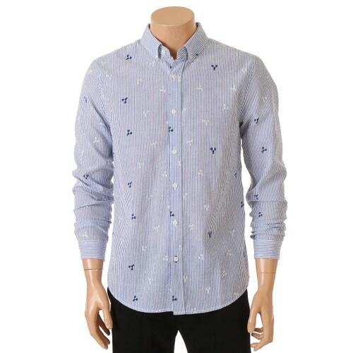 인디에프 테이트 남성 스트라이프 자수포인트 셔츠 KA6U4-MRC130_이미지