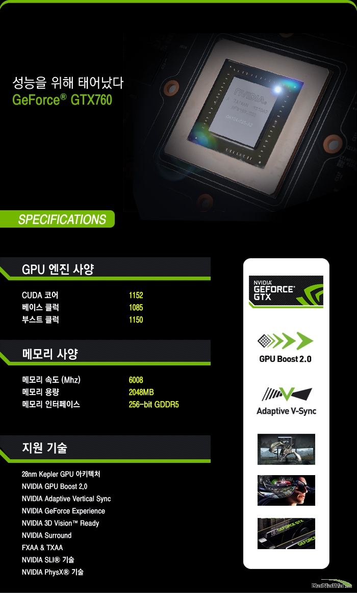 GIGABYTE 지포스 GTX 760 UDV OC D5 2GB WINDFORCE METAL 세부 사양 정보 이미지