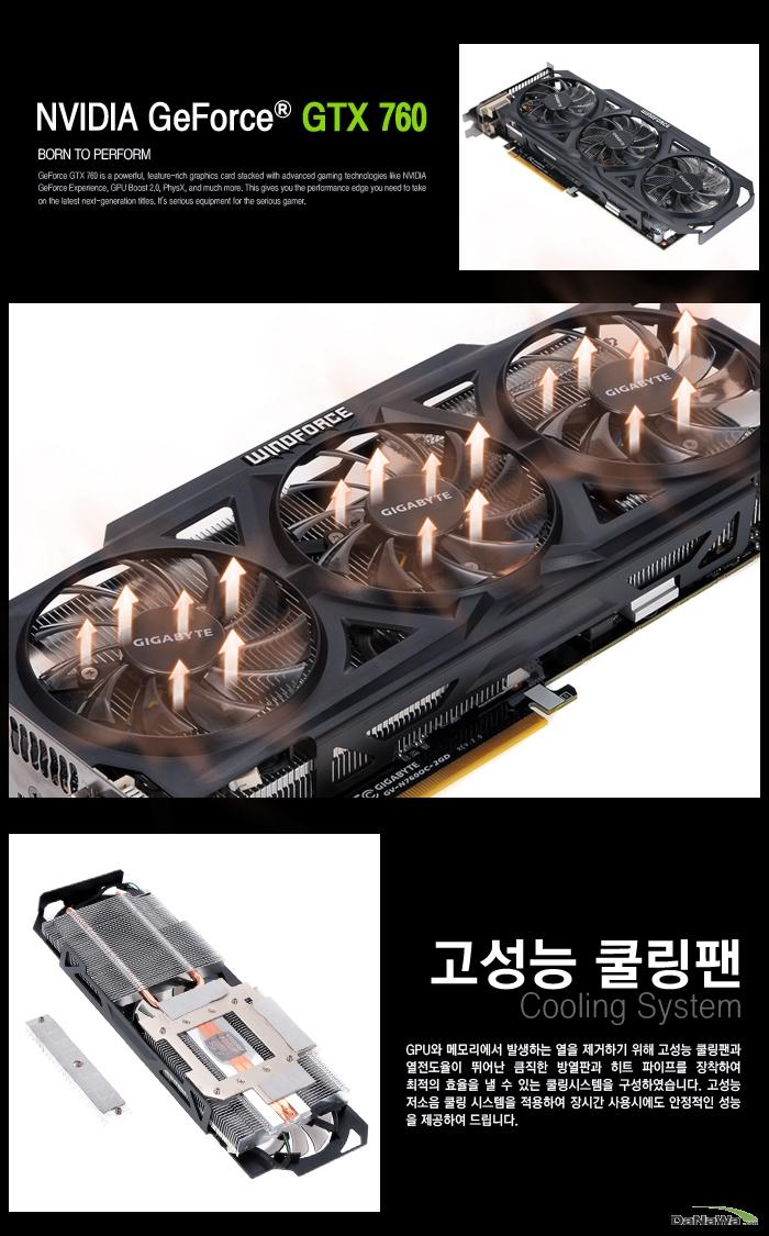 GIGABYTE 지포스 GTX 760 UDV OC D5 2GB WINDFORCE METAL의 고성능 쿨링팬
