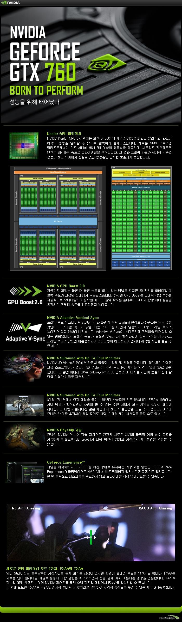 GIGABYTE 지포스 GTX 760 UDV OC D5 2GB WINDFORCE METAL의 기술정보