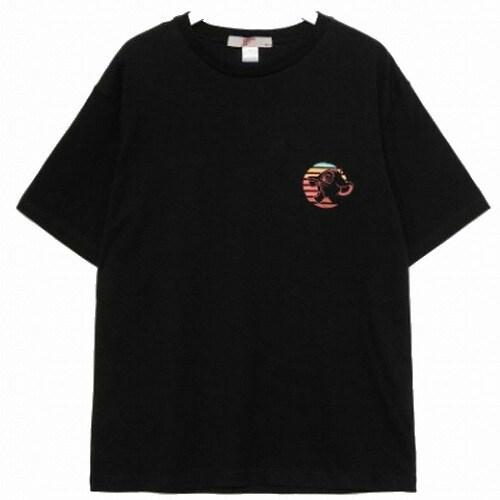 에잇세컨즈 X 라이온킹 남성 블랙 코튼 프린팅 반소매 티셔츠 429742LX35_이미지