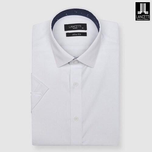 란체티  화이트 스트레치 솔리드 슬림핏 반소매 셔츠 LQM8822WH_이미지