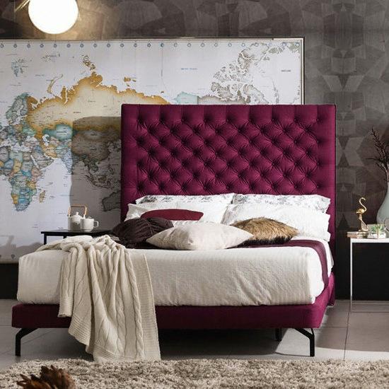 웨스트프롬 럭셔리 그레이스 퍼플 패브릭 TWO 매트리스 침대 퀸 (Q) (W2)_이미지