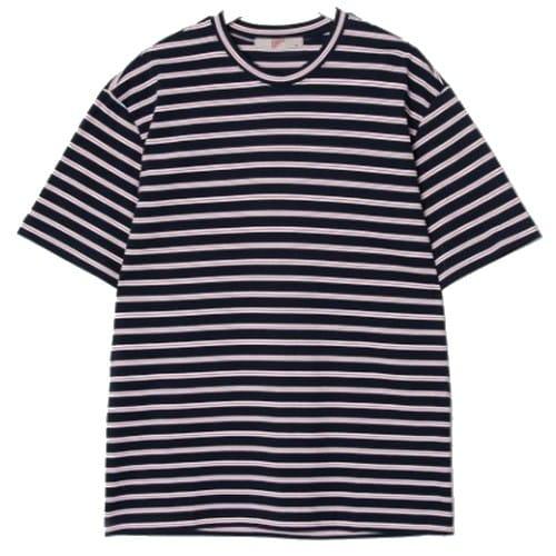 에잇세컨즈 남성 네이비 멀티 스트라이프 티셔츠 269442C31R_이미지
