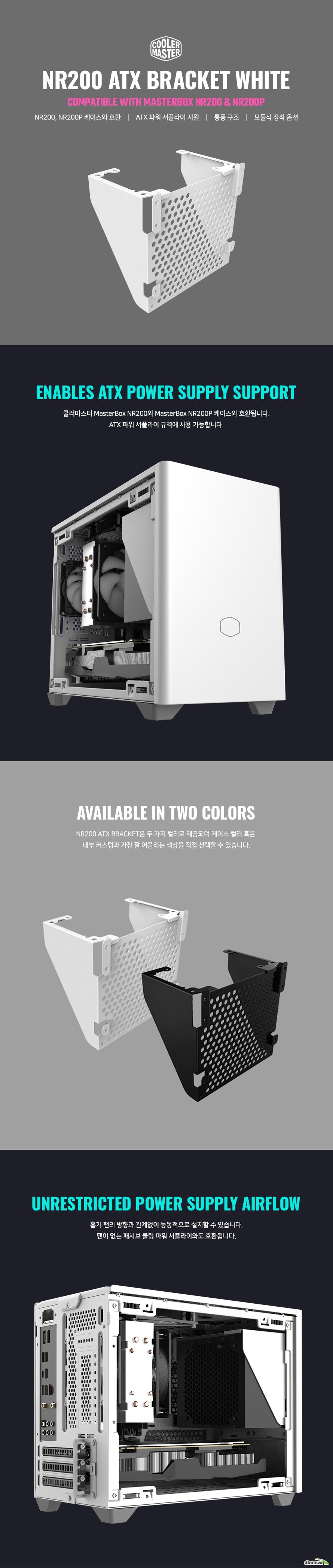 쿨러마스터 NR200 ATX PSU 브라켓 (화이트)