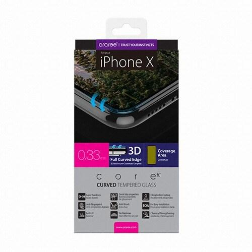 아라리 아이폰XS 맥스 3D 곡면 풀커버 플래티넘 강화유리 보호필름 (액정 1매)_이미지