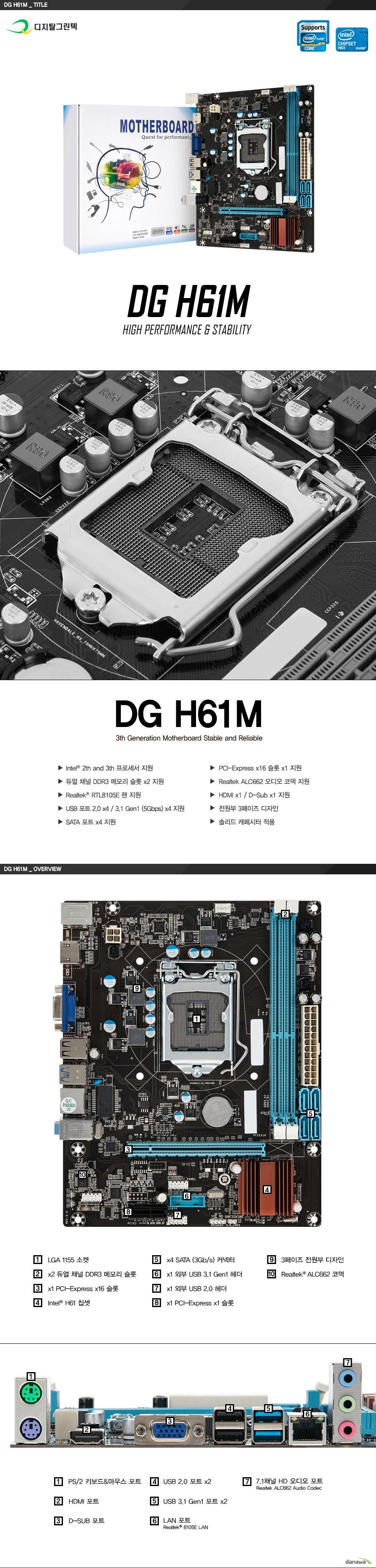 DG H61M 디지탈그린텍  2세대 및 3세대 인텔 코어 프로세서 지원 인텔 h61 칩셋 적용 듀얼 채널 ddr3 슬롯 2개, 최대 8기가바이트 지원 1066 1333메가헤르츠 지원  Pci 익스프레스 16배속 슬롯 1개 및 Pci 익스프레스 1배속 슬롯 1개 지원  리얼텍 alc662 6채널 hd 오디오 코덱 적용 리얼텍 rtl8111e 기가비트 랜 지원  Usb 3.1 gen1 포트 4개 및 usb 2.0 포트 4개 지원  kc인증 R R GRT DGH61M