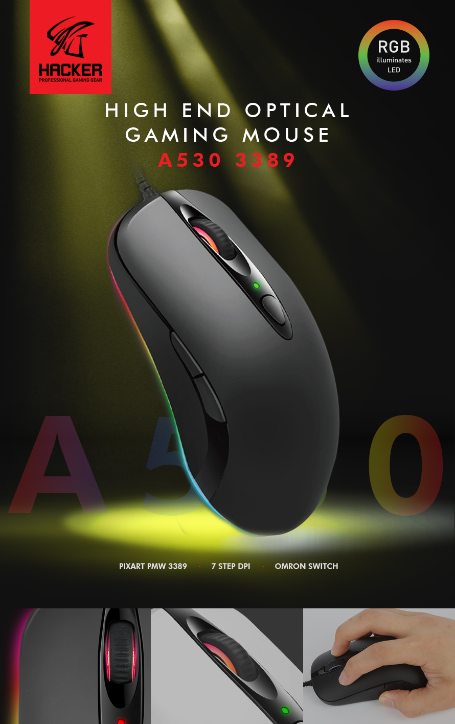 ABKO HACKER A530 3389 RGB 게이밍 마우스(블랙)