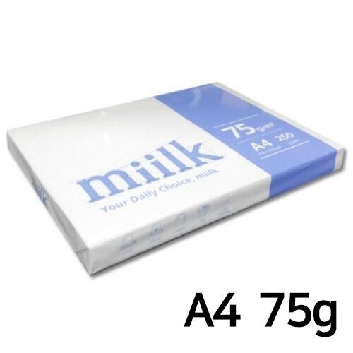 한국제지 밀크 복사용지 A4 75g (1팩, 250매)_이미지