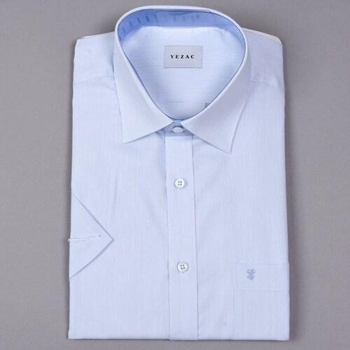 패션그룹형지 예작 블루 핀스트라이프 일반핏 반소매 셔츠 YJ8MBR223BL_이미지