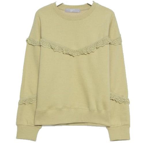 에잇세컨즈 여성 베이지 레이스 패치 기모 티셔츠 359X41LBEA_이미지