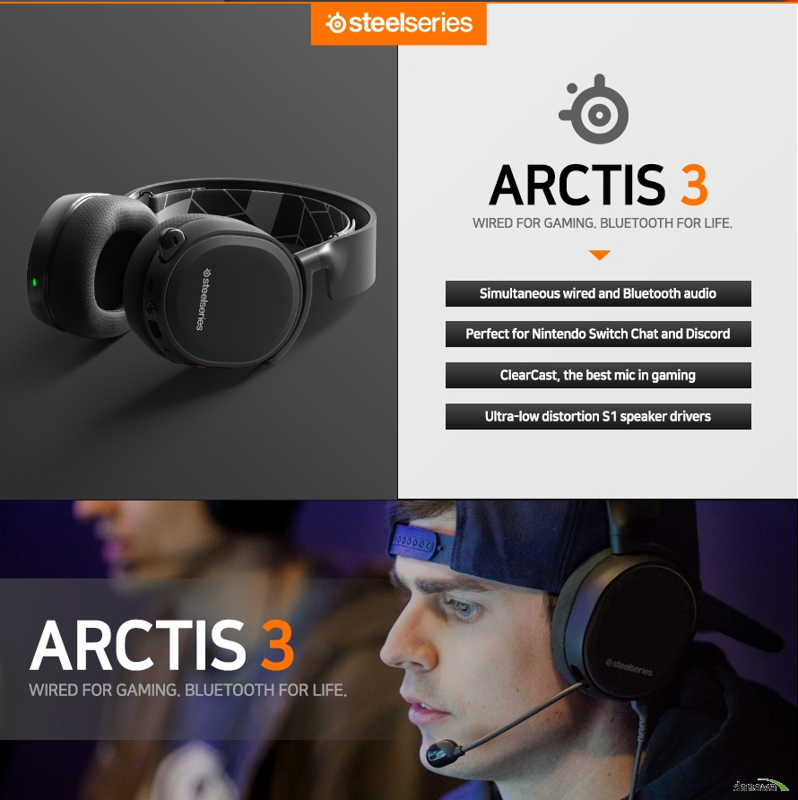 ARCTIS 3 BLUETOOTH 특징 Simultaneous wired and Bluetooth audio  Perfect for Nintendo Switch Chat and Discord  ClearCast, the best mic in gaming  Ultra-low distortion S1 speaker drivers