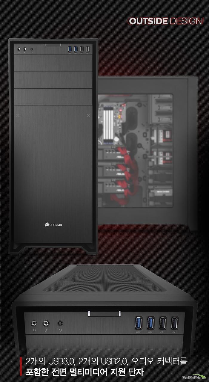 CORSAIR OBEDIAN 750D의 외관디자인 설명부, 전면 패널 설명 이미지