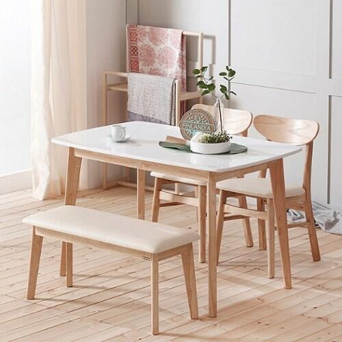 핀란디아 데니스 대리석 식탁세트 1200 (의자2개+벤치1개)_이미지