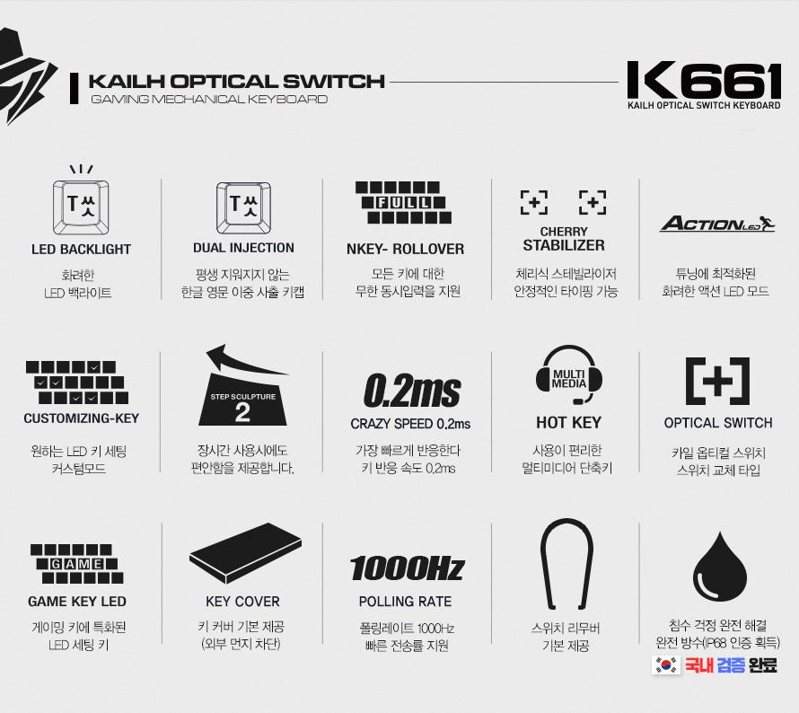ABKO HACKER K661 카일 광축 완전방수 축교환 어썸블루(블랙 V2, 클릭)