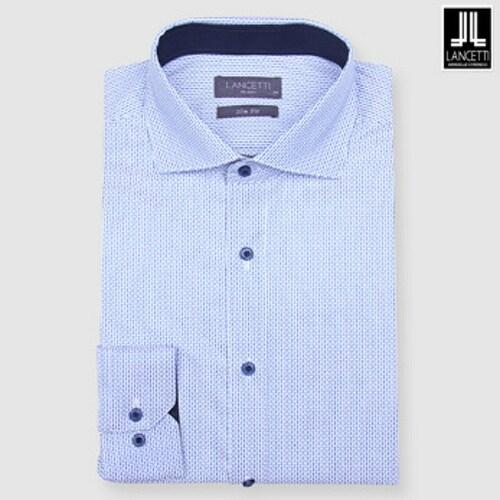 란체티  네이비 투톤 프린트 슬림핏 긴소매 셔츠 LOF7756NA_이미지