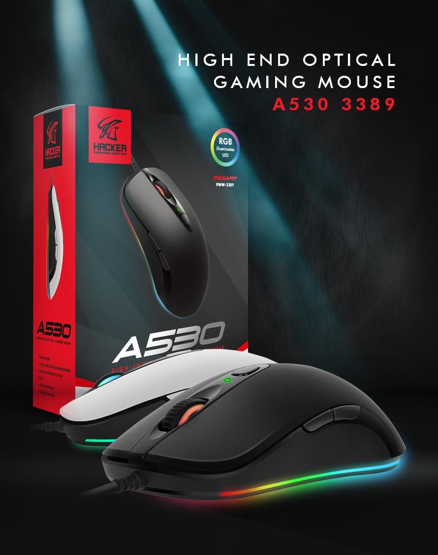 ABKO HACKER A530 3389 RGB 게이밍 마우스(화이트)