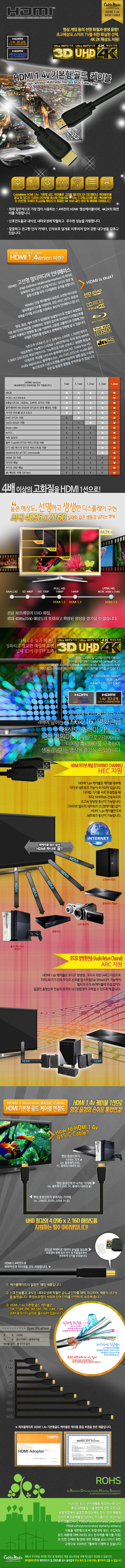 CABLEMATE HDMI Ver1.4 기본형 골드 케이블 (15m)