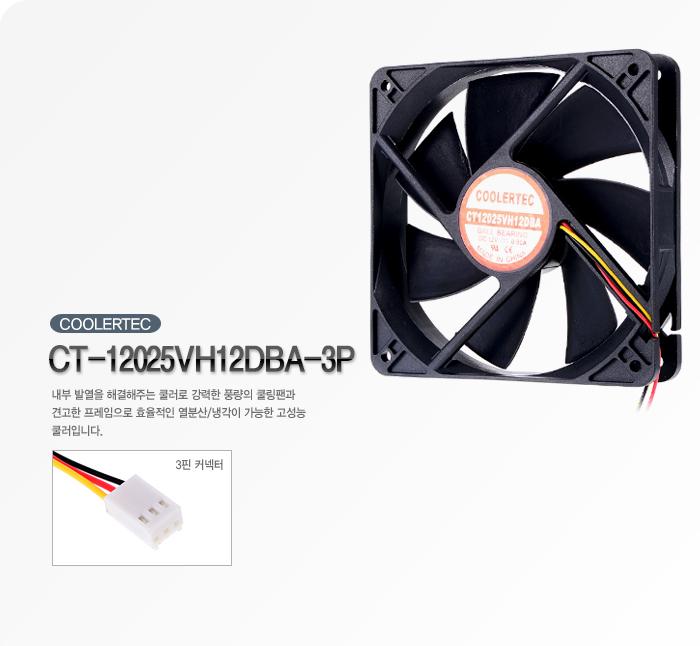 쿨러텍 CT-12025VH12DBA-3P 제품 정측면 이미지 및 커넥터 확대 이미지