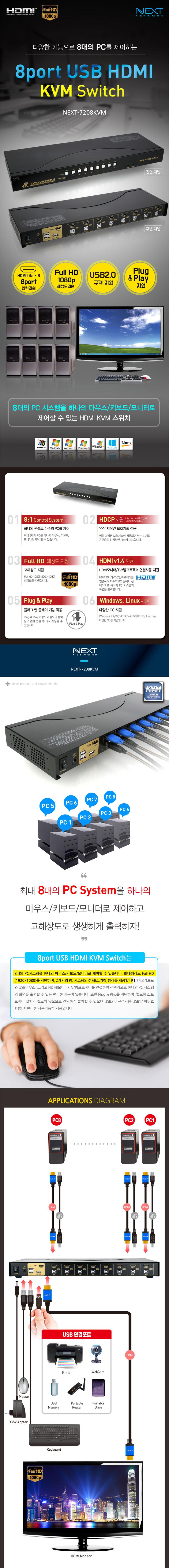 이지넷유비쿼터스 넥스트 8:1 USB HDMI KVM 스위치 (NEXT-7208KVM)