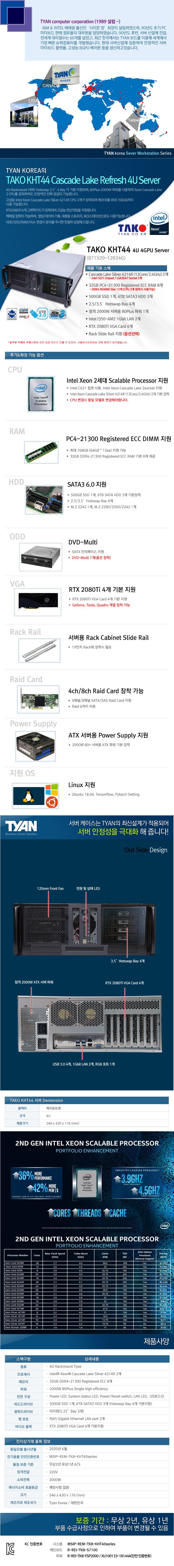 TYAN TAKO-KHT44-(B71S20-12R24G) 4GPU (256GB, SSD 500GB + 18TB)