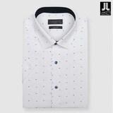 란체티  화이트 모달 프린트 슬림핏 반소매 셔츠 LQM8938WH_이미지