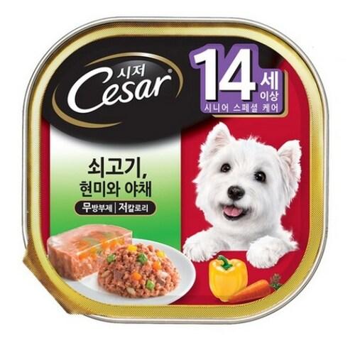한국마즈 시저 14세이상 쇠고기 현미와 야채 100g (24개)_이미지