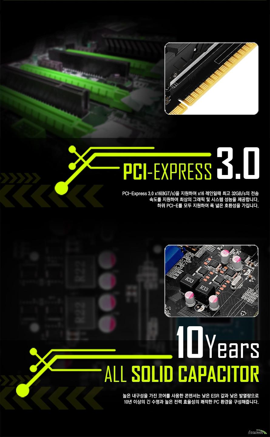 PCI-EXPRESS 3.0PCI-Express 3.0 x16을 지원하여 x16 레인일때 최고 32GB/s의 전송속도를 지원하여 최상의 그래픽 및 시스템 성능을 제공합니다.하위 PCI-E를 모두 지원하여 폭 넓은 호환성을 가집니다.10Years ALL SOLID CAPACITOR높은 내구성을 가진 코어를 사용한 콘덴서는 낮은 ESR 값과 낮은 발열량으로긴 수명과 높은 전력 효율성의 쾌적한 PC 환경을 구성해줍니다.