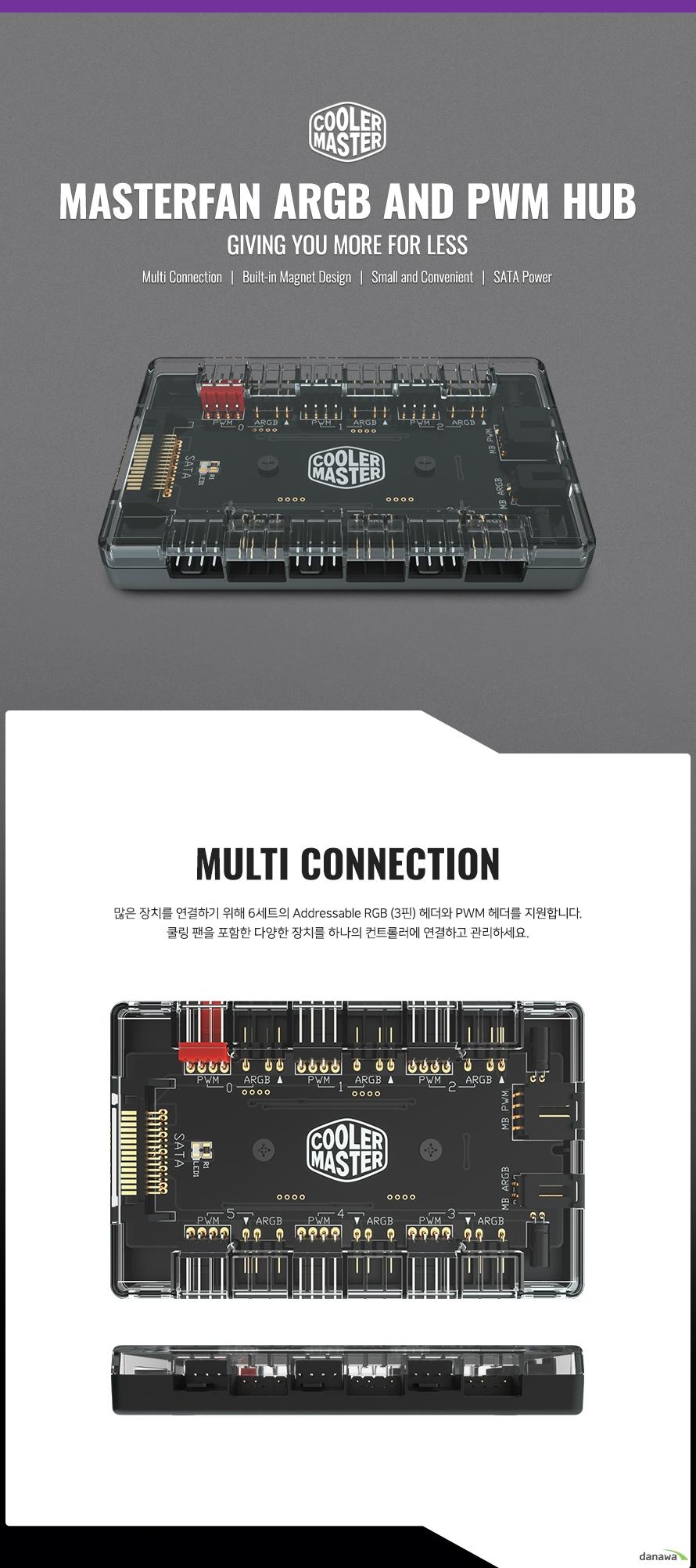 MASTERFAN ARGB AND PWM HUB  많은 장치를 연결하기 위해 6세트의 Addressable RGB (3핀) 헤더와 PWM 헤더를 지원합니다.  쿨링 팬을 포함한 다양한 장치를 하나의 컨트롤러에 연결하고 관리하세요.    컨트롤러 후면에 2개의 자석이 내장되어 금속 재질로 이루어진 케이스에 부착할 수 있습니다. 양면 테이프를 사용하지 않기 때문에 더욱 편리합니다.   최대 부하 상태에서도 안정적인 출력을  유지할 수 있습니다.   공간을 효과적으로 절약할 수 있고 케이블을 정리할 수 있도록 도와줍니다.