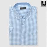 란체티  블루 사각체크 일반핏 반소매 셔츠 OLM5123BL_이미지