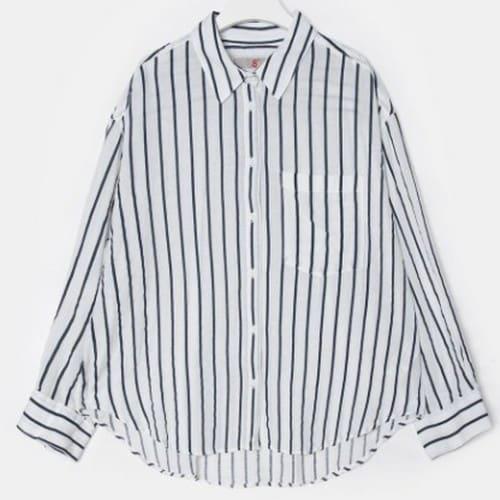 에잇세컨즈 여성 네이비 코튼 스트라이프 언밸런스 셔츠 169464HY1R_이미지