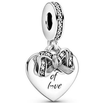 판도라 Bow and Love Heart Dangle Charm 799221C01_이미지