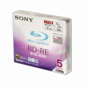 SONY BD-RE 25GB 2x 와이드프린터블 슬림 (5장)_이미지