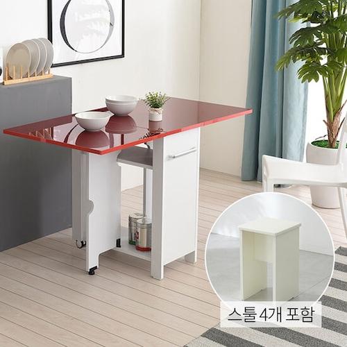 유캐슬 유씨엠 코코레인 하이그로시 접이식 확장형 식탁세트 600 (스툴4개)_이미지