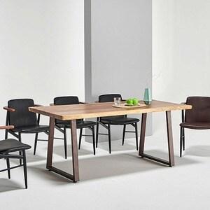 데코마인 주피터 우드슬랩 몽키포드 테이블 기본다리형 2200 (의자별도)_이미지