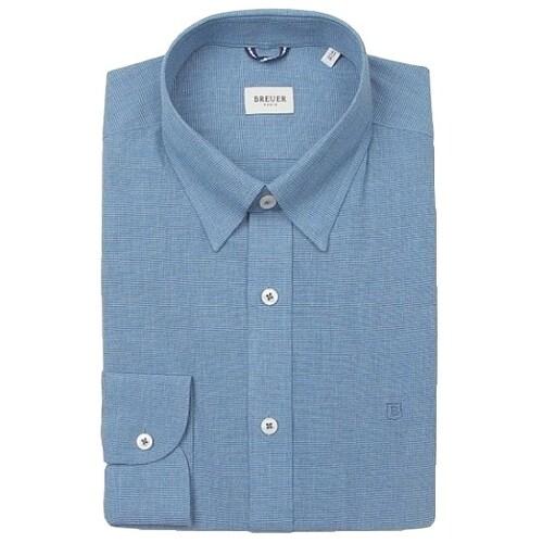 에스제이듀코 브로이어블루 히든스냅 기본핏 긴소매 셔츠 ED7SM31LS122EBU_이미지